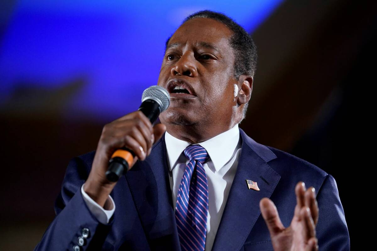 Republican conservative radio show host Larry Elder speaks to supporters after losing the Calif ...