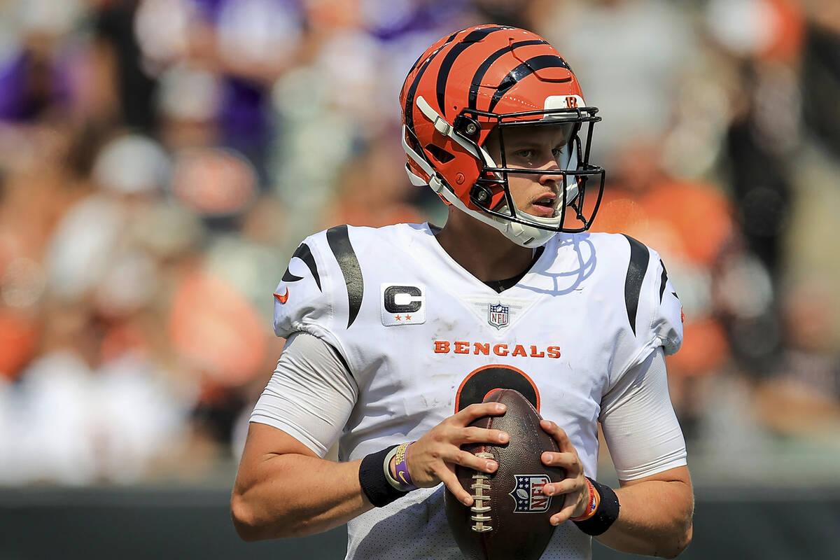 Cincinnati Bengals quarterback Joe Burrow (9) drops back to pass against the Minnesota Vikings ...