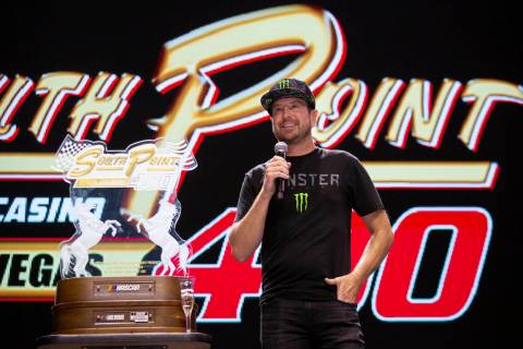Kurt Busch, a NASCAR driver from Las Vegas, does a fan event celebrating his 2020 South Point 4 ...