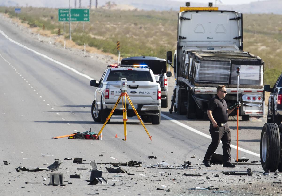 Nevada Highway Patrol investigates a fatal crash on Interstate 15 near Jean, on Monday, Aug. 30 ...