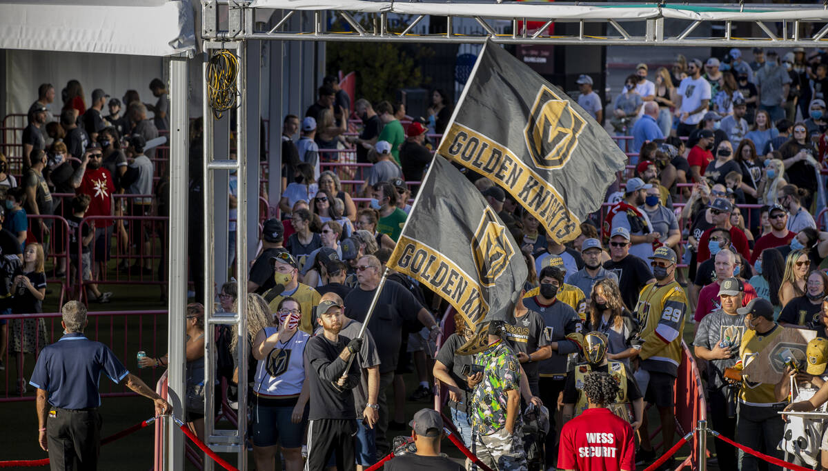 The main gate is about to open and let people in during the Golden Knights annual Fan Fest at t ...