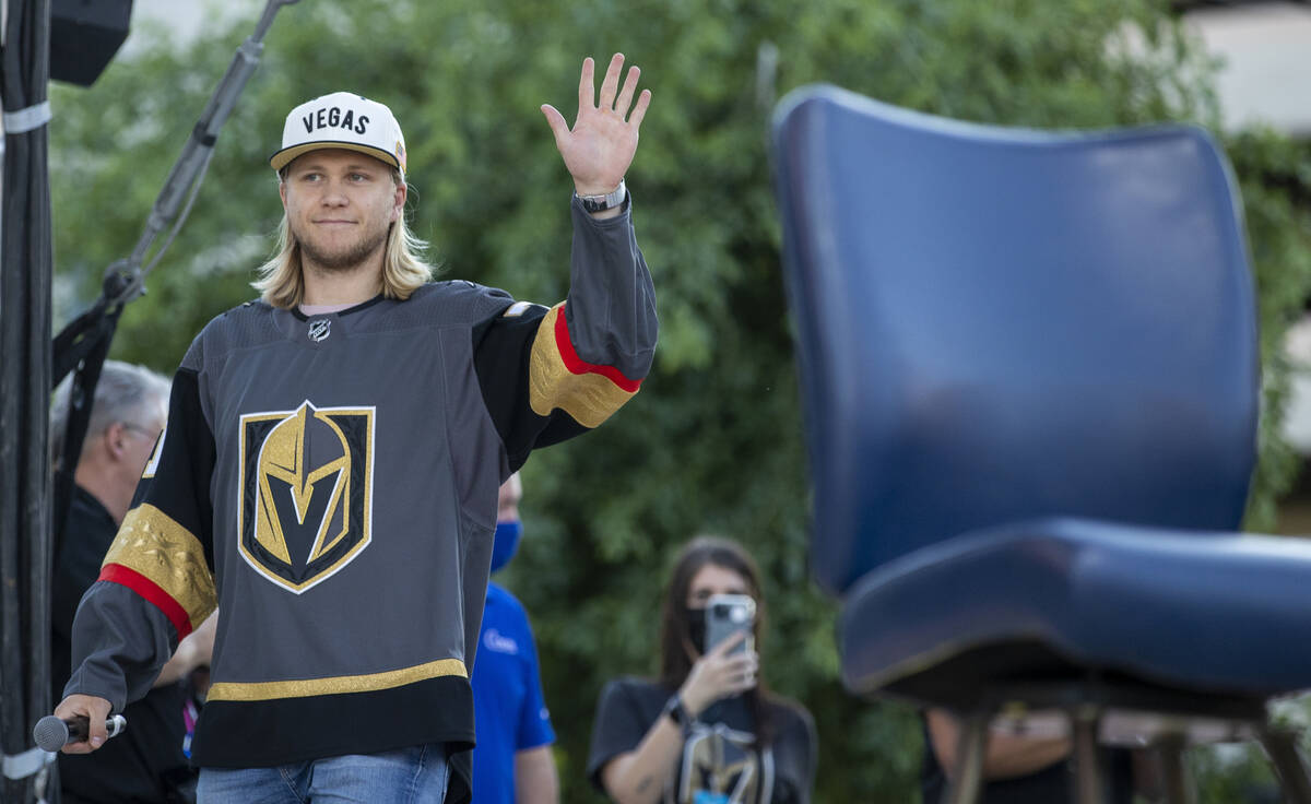 Golden Knights player William Karlsson greets the crowd after being introduced at their annual ...