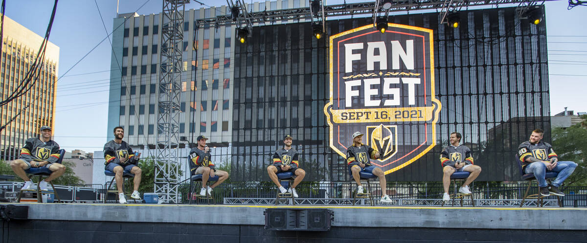 Golden Knights players on the stage to answer questions during their annual Fan Fest at the Dow ...