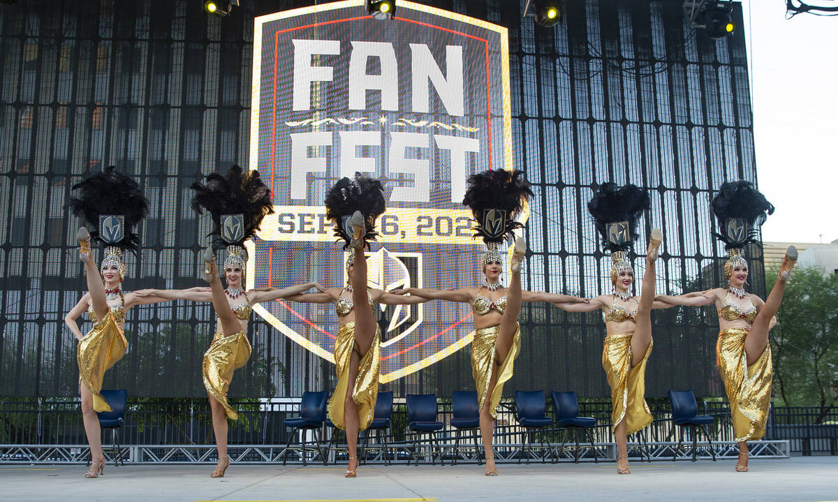 The Golden Belles perform for the crowd during the Golden Knights annual Fan Fest at the Downto ...