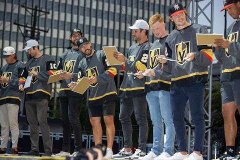 Golden Knights players on the stage to answer questions about each other during their annual Fa ...