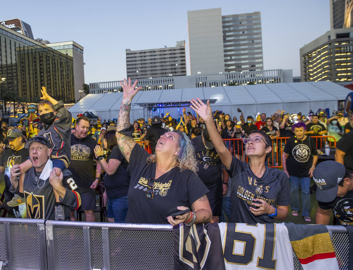 Merchandise is tossed to the crowd during the Golden Knights annual Fan Fest at the Downtown La ...