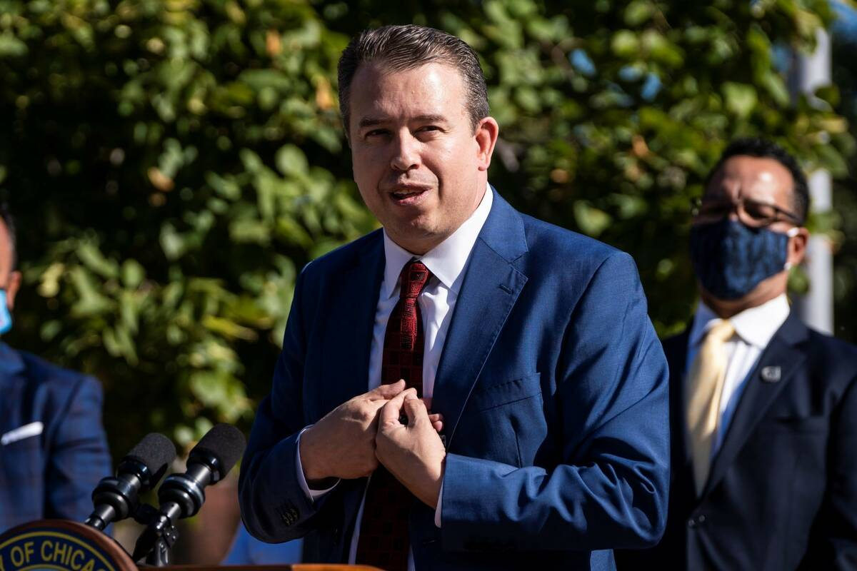 San Antonio schools Superintendent Pedro Martinez speaks shortly after Mayor Lori Lightfoot ann ...