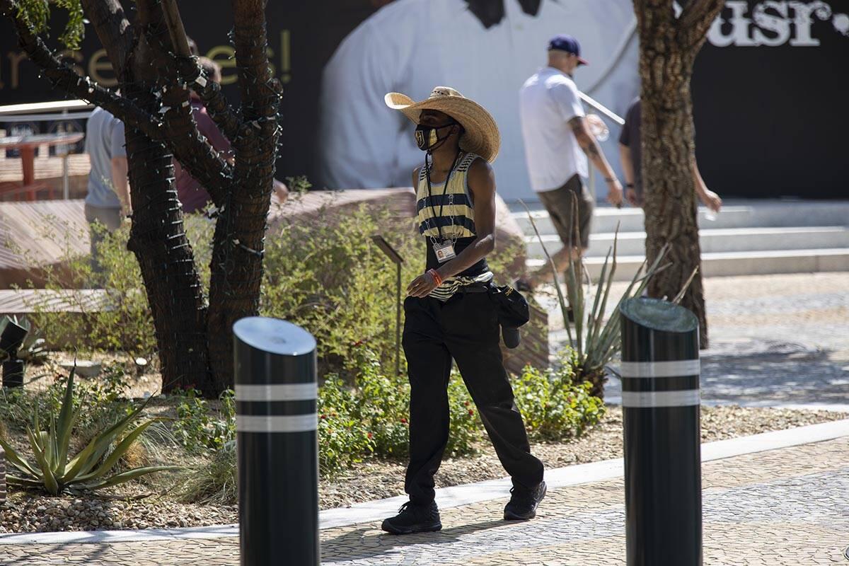 A person walks on The Park near walks the Strip near New York-New York hotel-casino in Las Vega ...