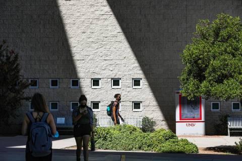 Students exit the Lied Library at UNLV in Las Vegas Thursday, Sept. 16, 2021. (Rachel Aston/Las ...