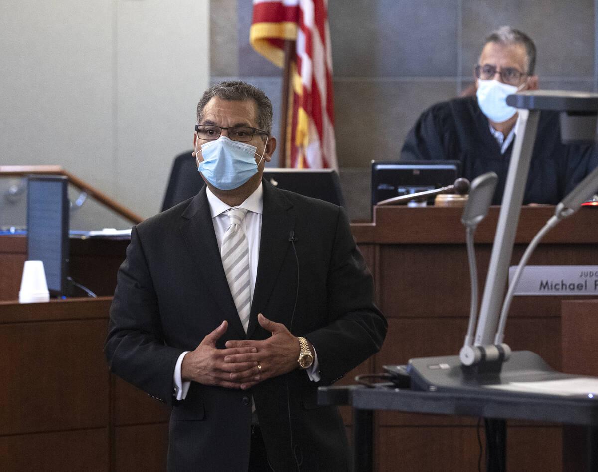 Christopher Oram, representing Omar Rueda-Denvers, delivers a closing arguments during Denvers& ...
