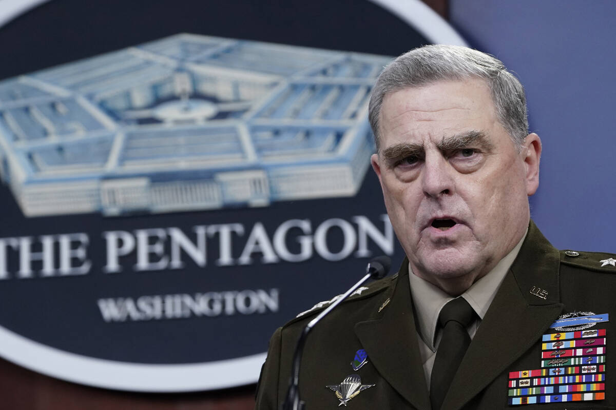 Joint Chiefs of Staff Gen. Mark Milley speaks during a briefing with Secretary of Defense Lloyd ...