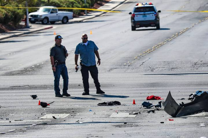 The scene where a motorcyclist was killed following a crash at Eastern and Harmon avenues in ea ...