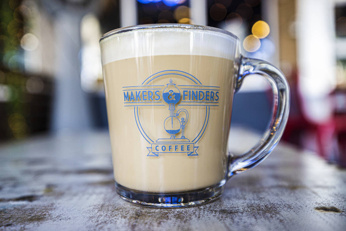 A lavender infused latte at Makers & Finders on Wednesday, Sept. 15, 2021, in Las Vegas. (B ...