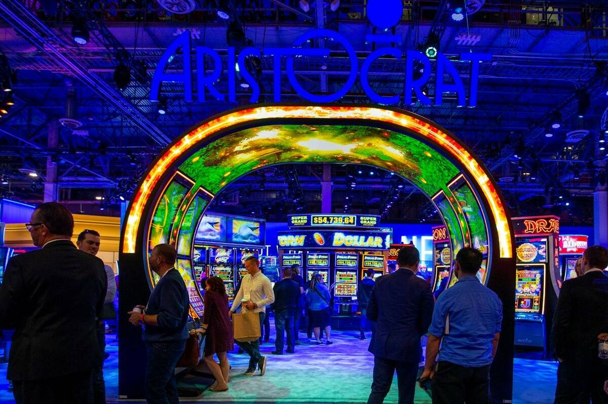 Visitors wander about the Aristocrat exhibition space entrance during the Global Gaming Expo 20 ...