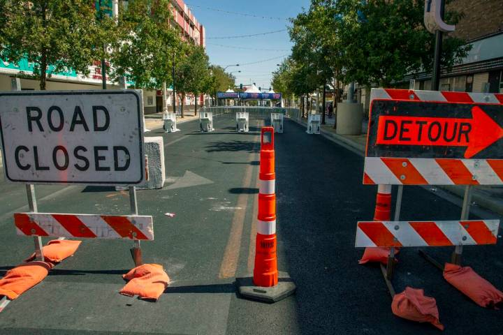 Road closures for Life is Beautiful along East Fremont Street on Thursday, Sept. 16, 2021, in L ...