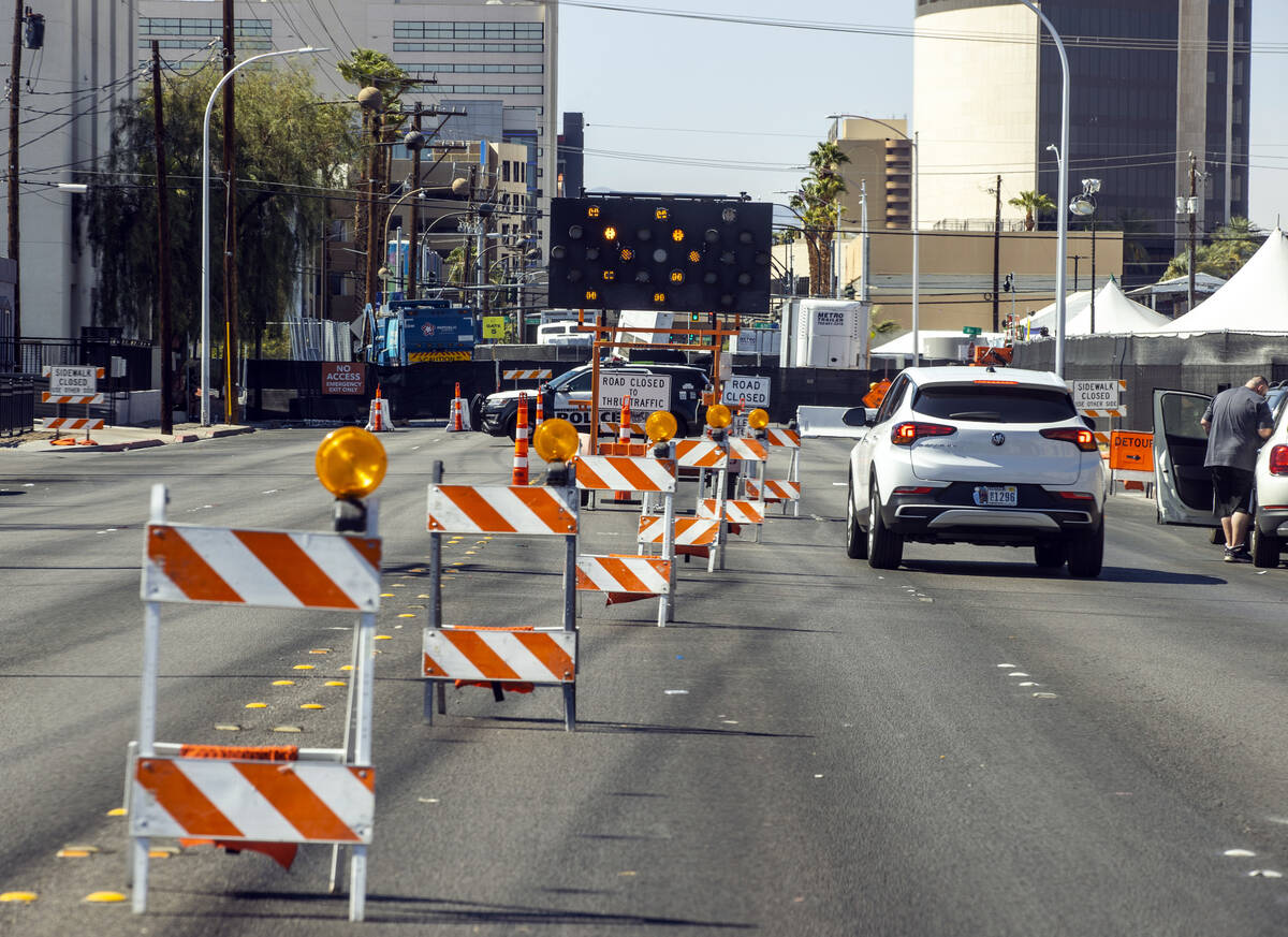 Traffic is redirected for Life is Beautiful as Stewart Avenue is closed near East 6th Avenue on ...