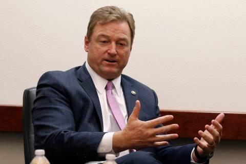 Former Sen. Dean Heller, R-Nev., speaks with the Las Vegas Review -Journal editorial board on F ...