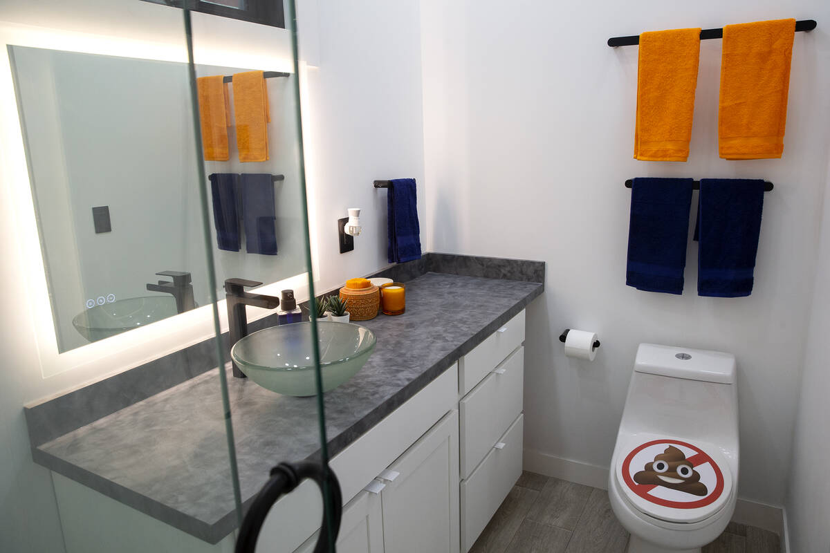 The full-sized bathroom in a Boxabl Casita at the company's factory space on Friday, Aug. 13, 2 ...