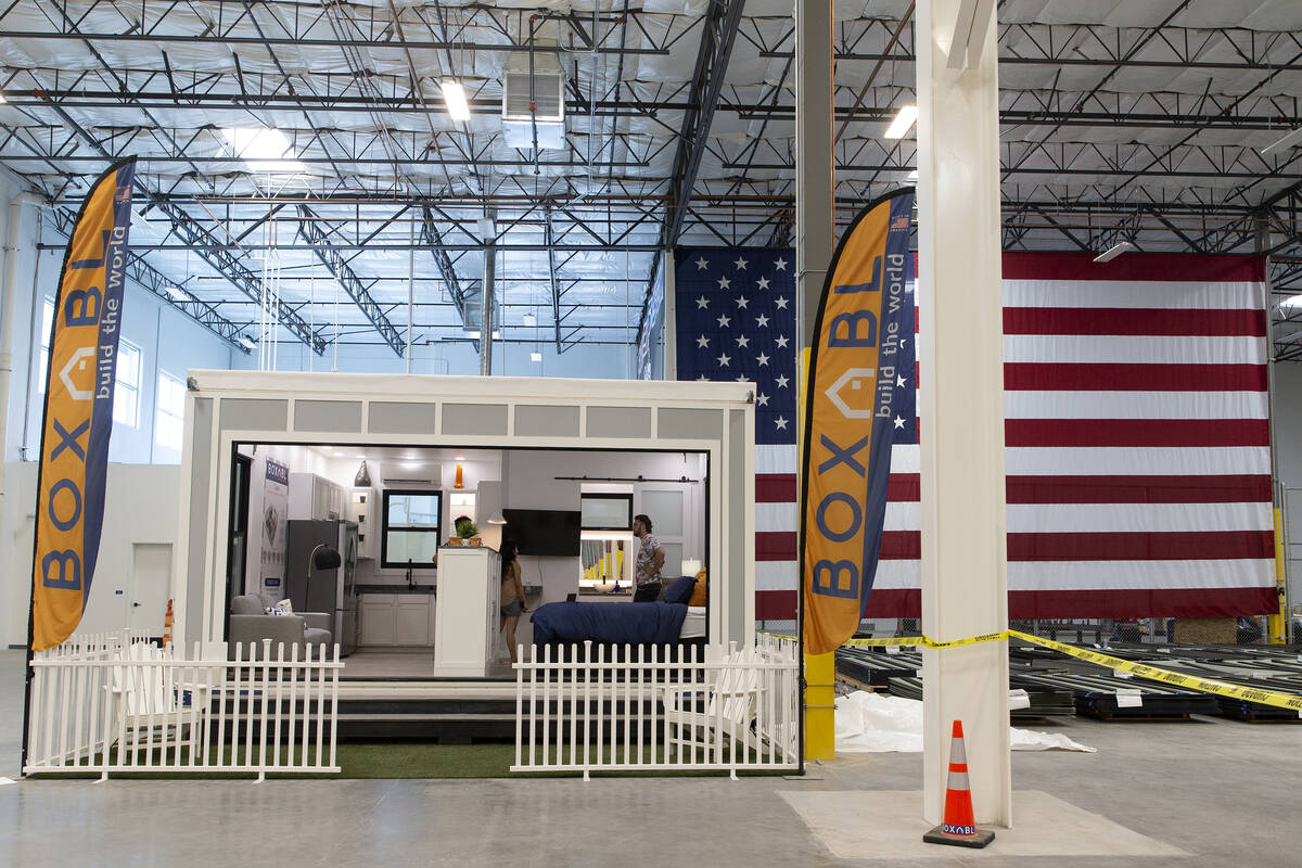 A model Boxabl Casita is on display at the company's warehouse and factory space on Friday, Aug ...