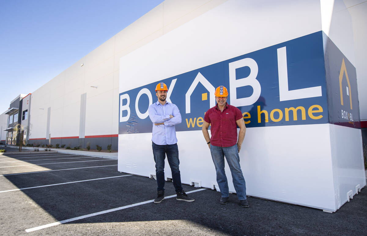 Paolo Tiramani, founder and CEO of Boxabl, right, and son and co-founder Galiano Tiramani pose ...