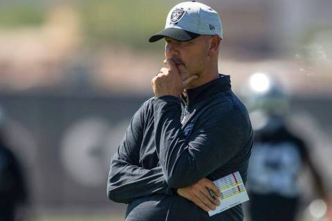 Raiders defensive coordinator Gus Bradley looks on during team practice at the Raiders Headquar ...