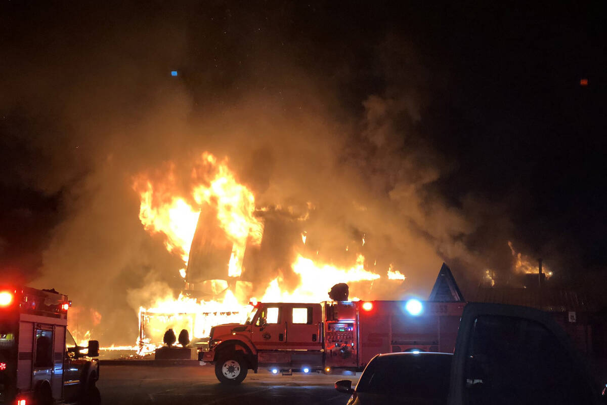 A fire caused damage to the Mount Charleston Lodge early Friday, Sept. 17, 2021. (Dari Sullivan)