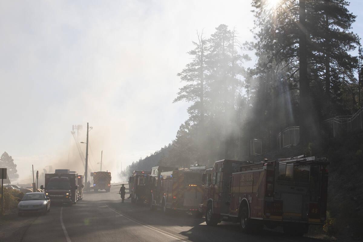 Firefighters battle a blaze at Mount Charleston Lodge on Friday, Sep. 17, 2021. (Bizuayehu Tesf ...