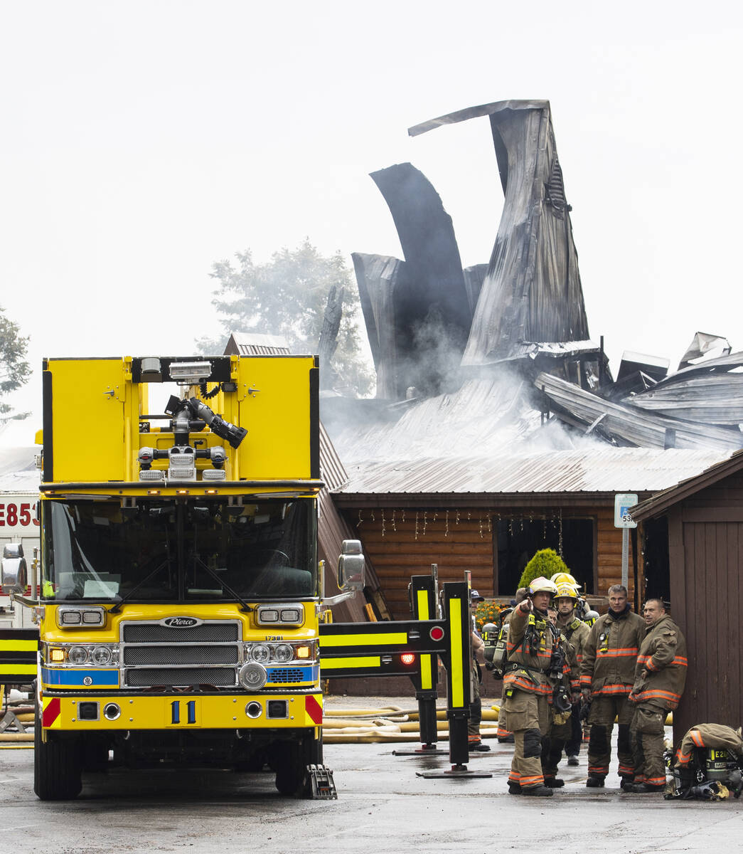 Emergency crews on the scene of a fire that destroyed the Mount Charleston Lodge on Friday, Sep ...