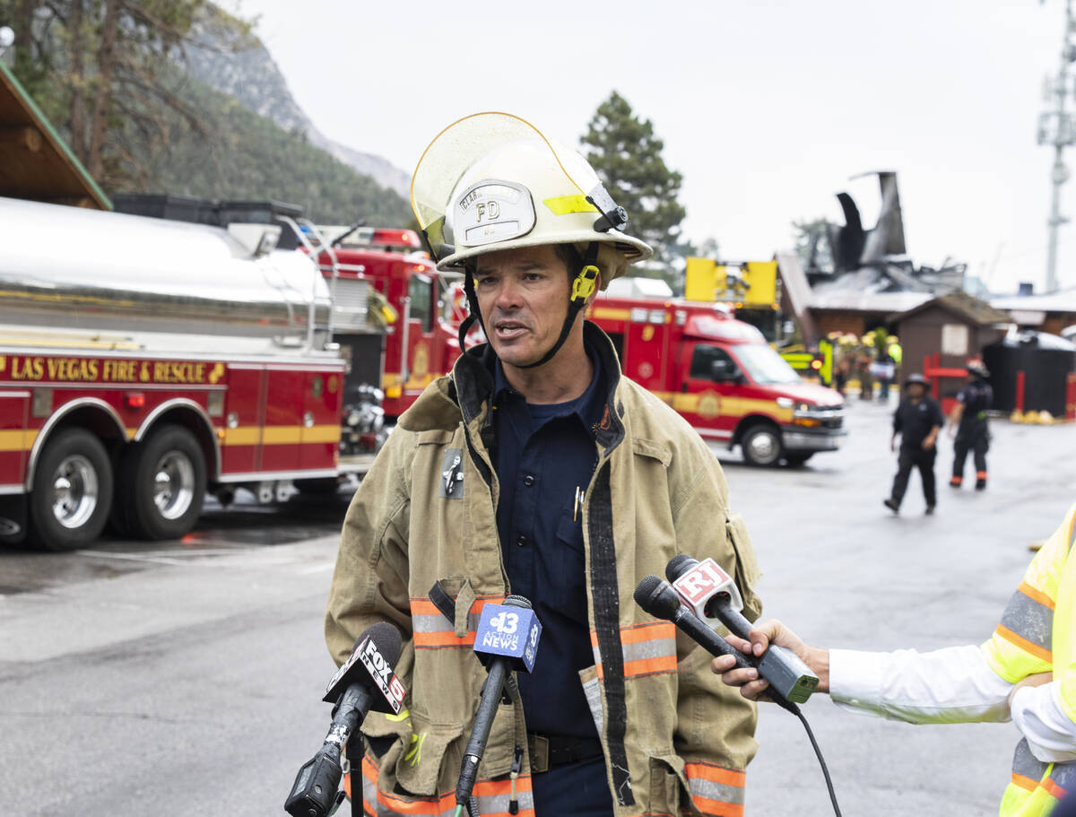 Clark County Fire Department Deputy Chief Thomas Touchstone speaks about a fire at the Mount Ch ...