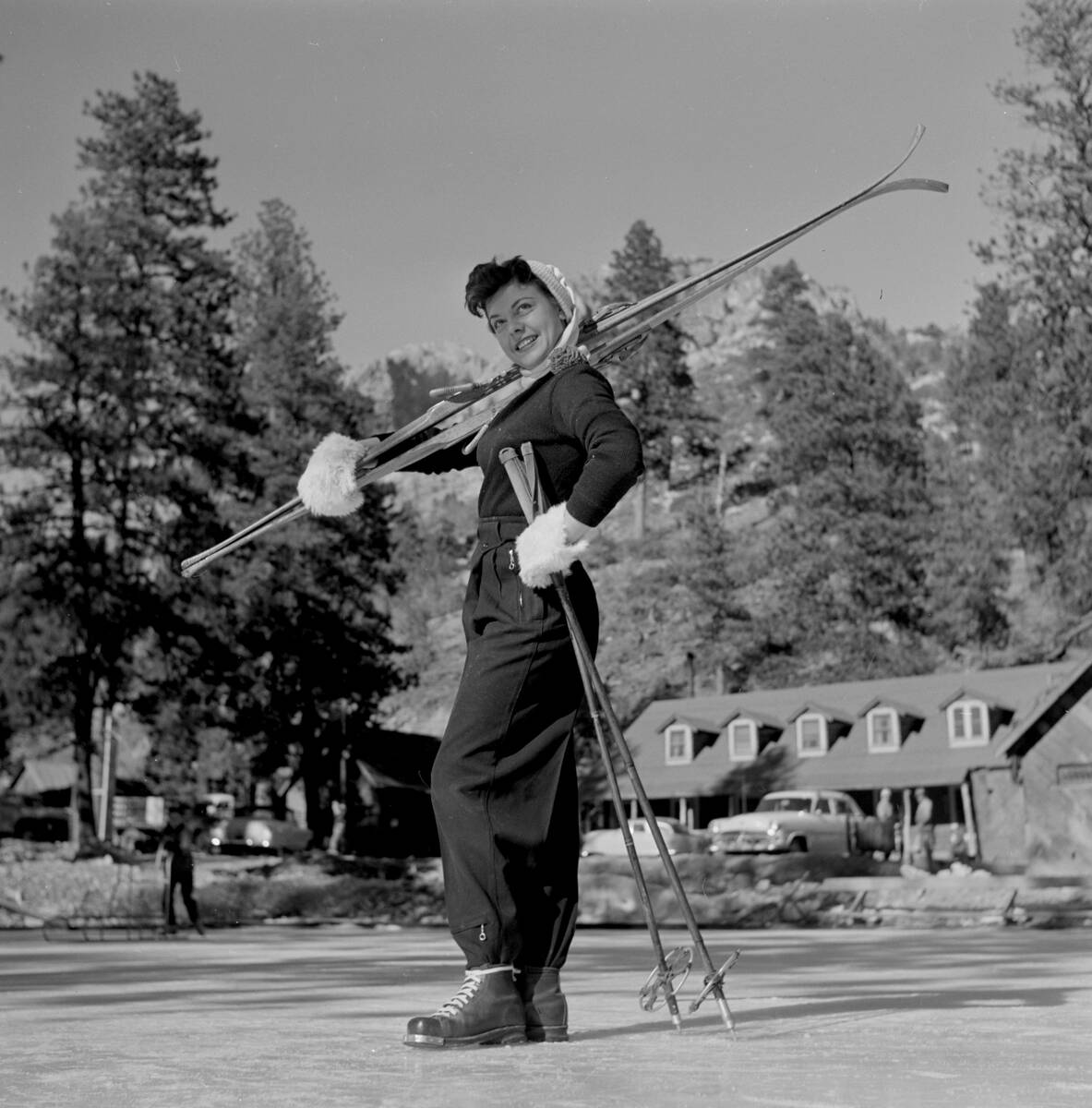 Joan Kelly posing for New Year's photos from the Sands Hotel and Casino on Mount Charleston, no ...