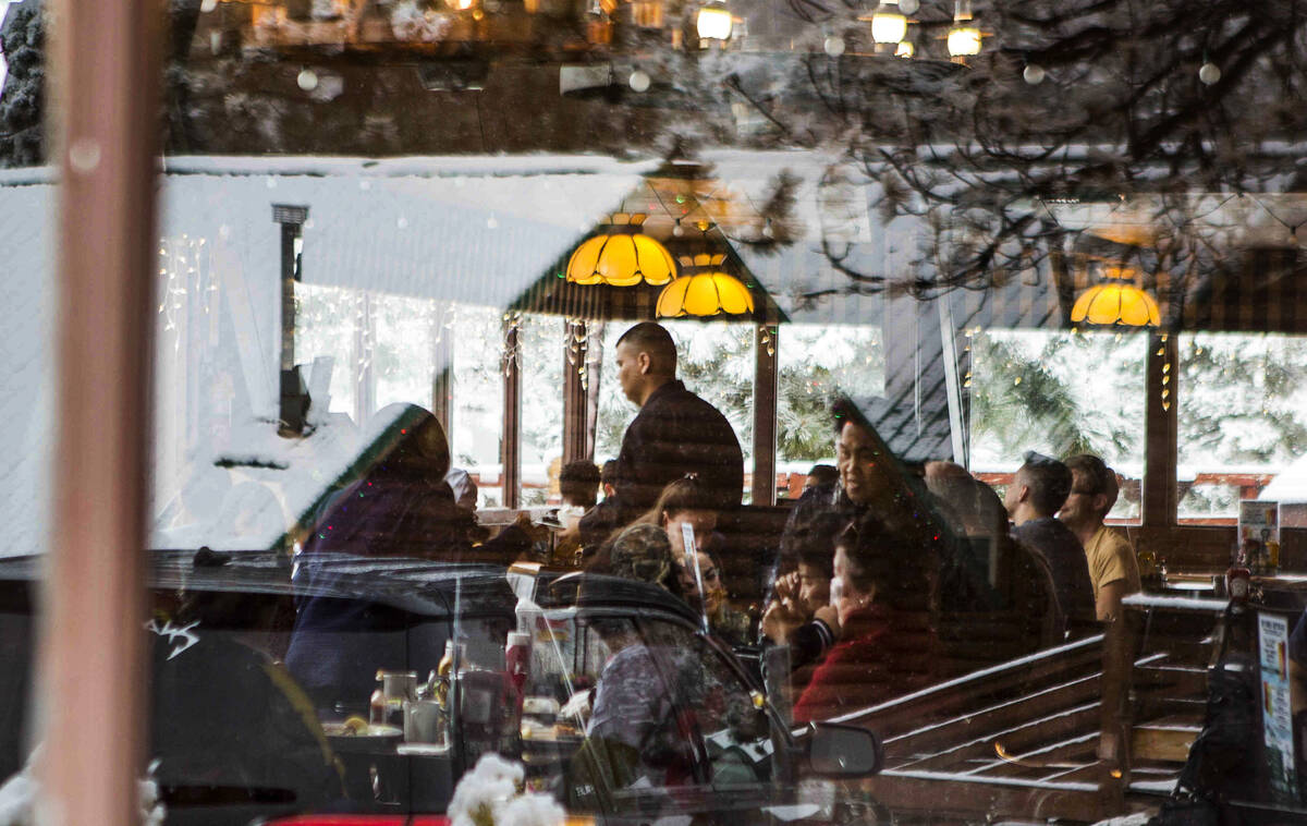 Restaurant-goers enjoy food inside Mount Charleston Lodge on Tuesday, May 1, 2018. (Review-Jour ...