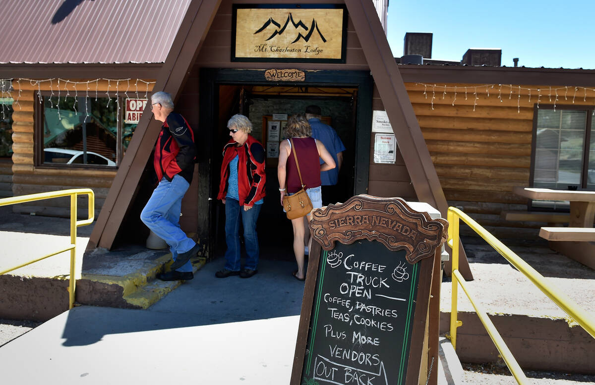 Customers enter and exit the Mount Charleston Lodge on Friday, July 15, 2016. (David Becker/Las ...