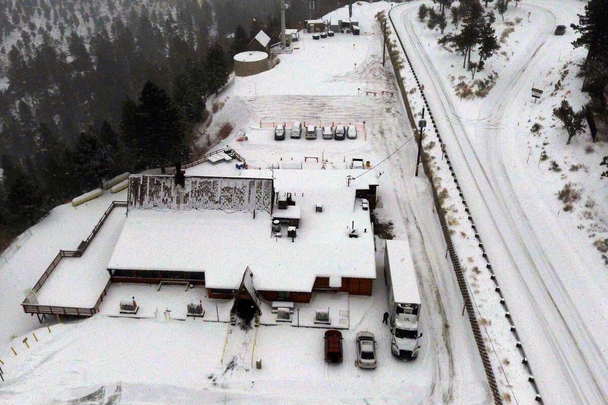 A snow covered Mount Charleston Lodge pictured on Monday, Jan. 25, 2021. (Bizuayehu Tesfaye/Las ...