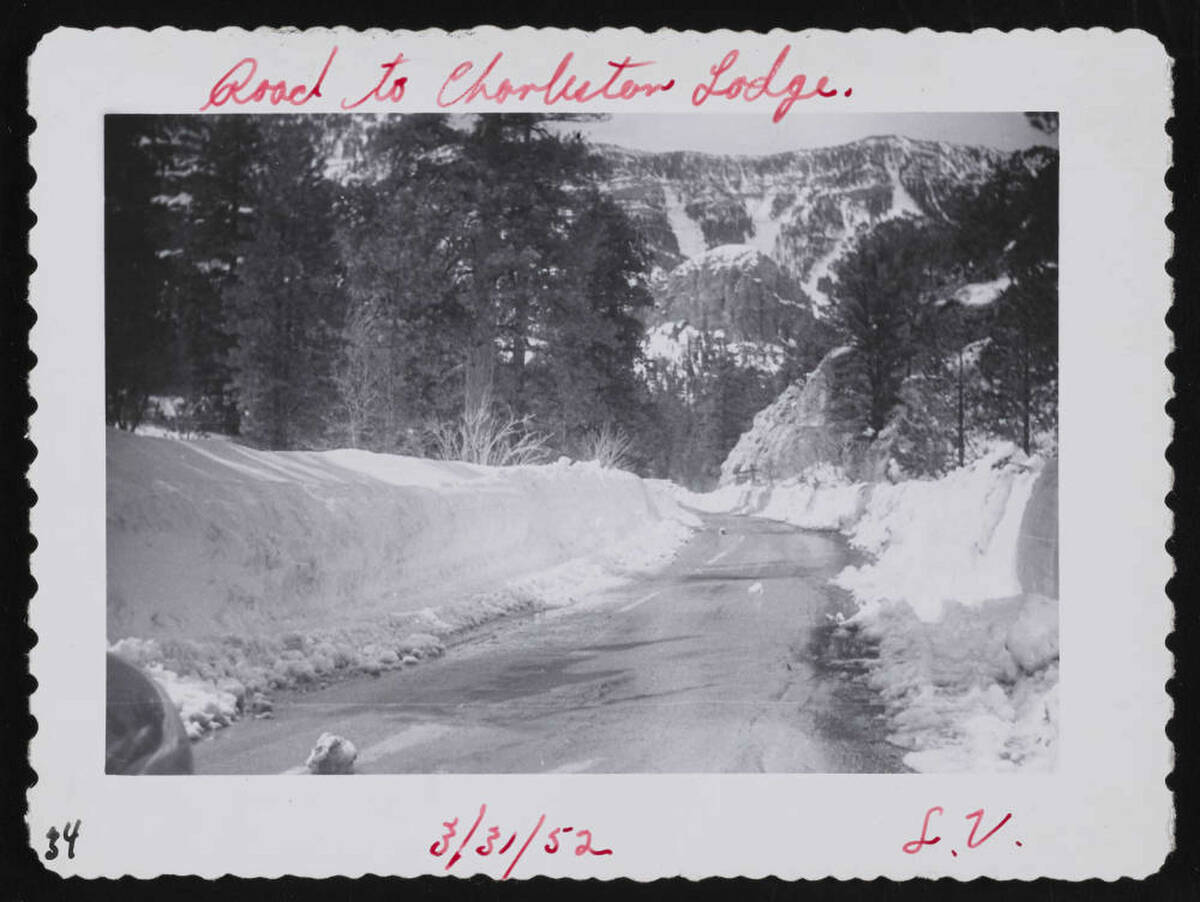 An undated photo shows the road to Mount Charleston Lodge. (UNLV Libraries Special Collections ...