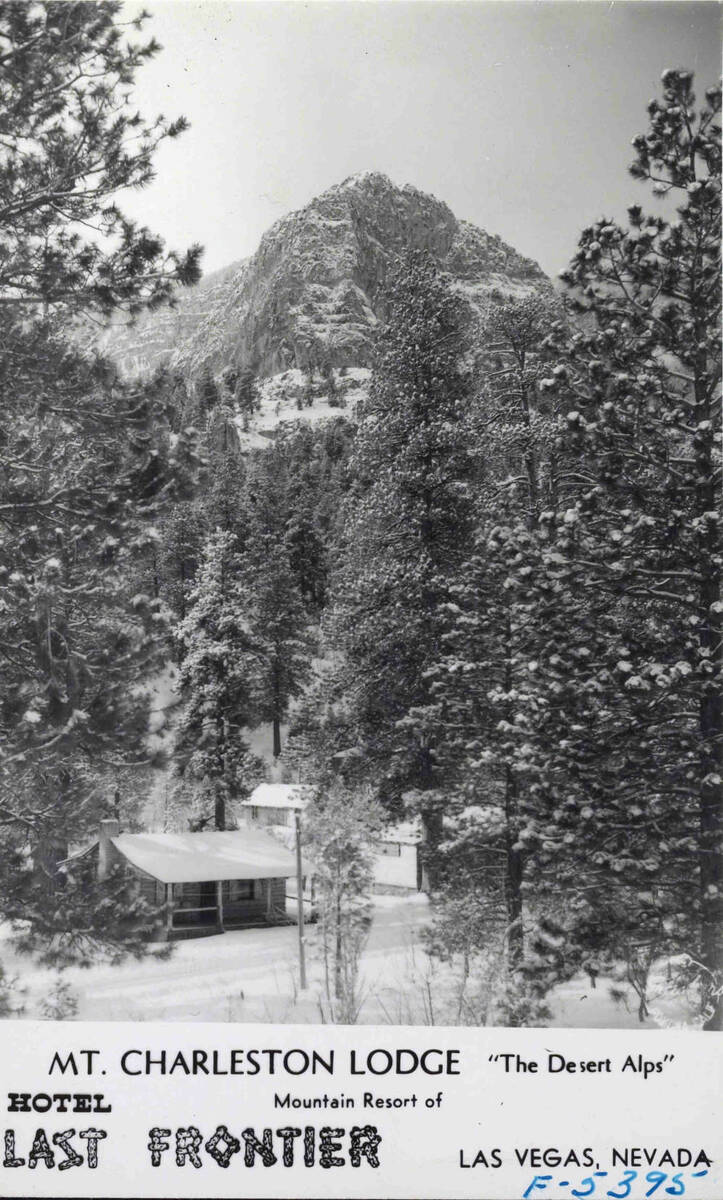 An exterior view of the Mount Charleston Lodge resort circa 1930s-1950s. (UNLV Libraries Specia ...