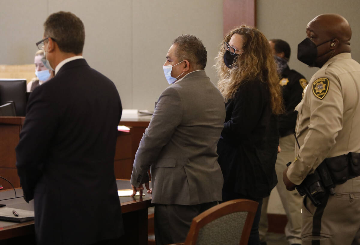 Omar Rueda-Denvers, second from left, listens to his verdict in his retrial, Friday, Sept. 17, ...