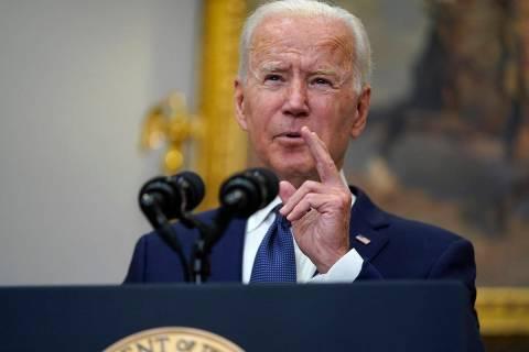 President Joe Biden speaks about Hurricane Henri and Afghanistan evacuations in the Roosevelt R ...