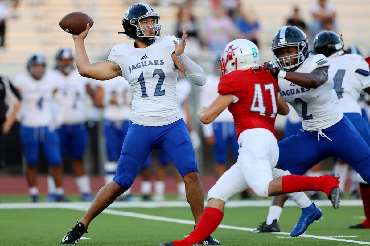 Desert Pines Rjay Tagataese (12) throws a touchdown pass against Arbor View in the first half o ...