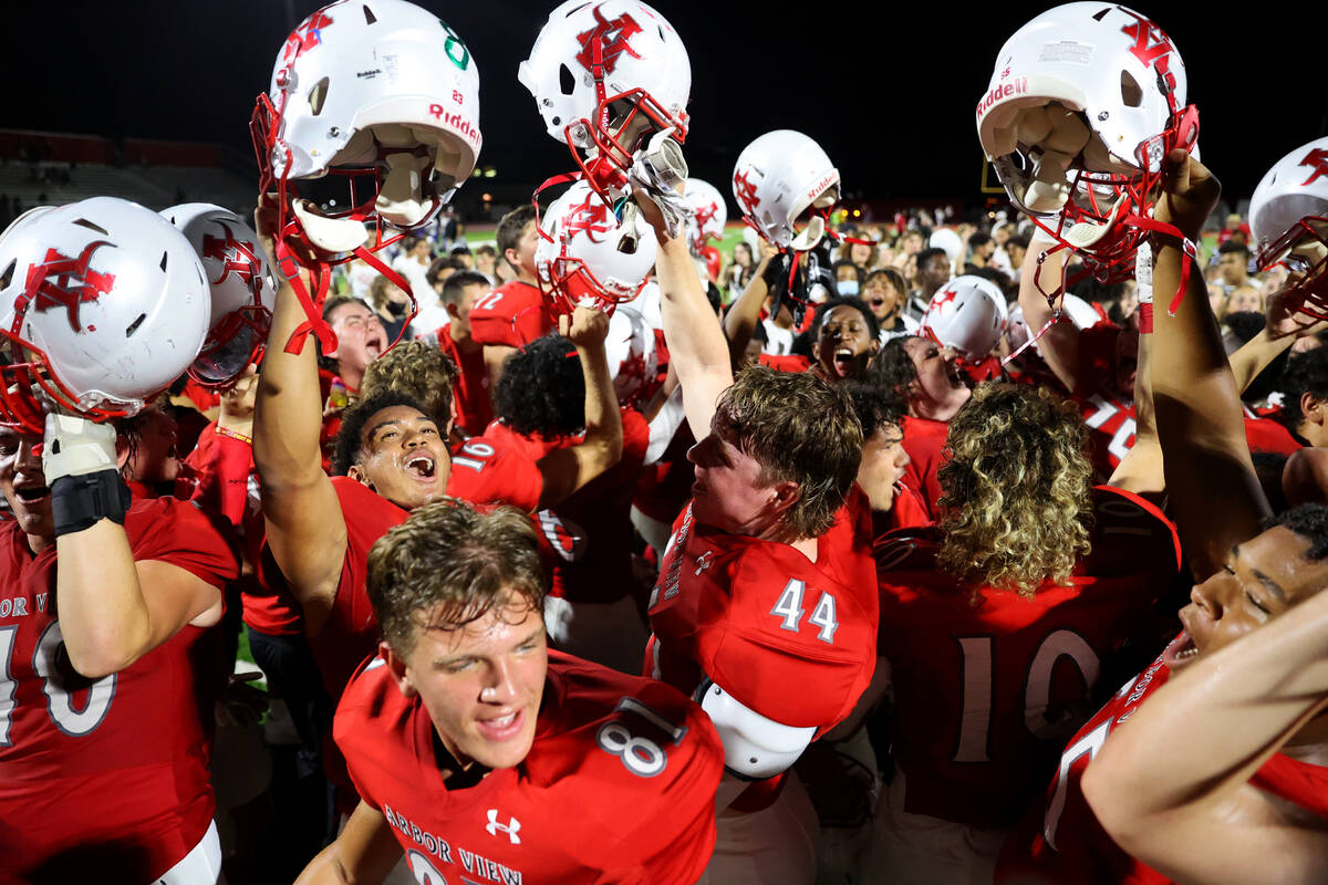 Arbor View celebrates its 22-21 win over Desert Pines during a football game at Arbor View High ...