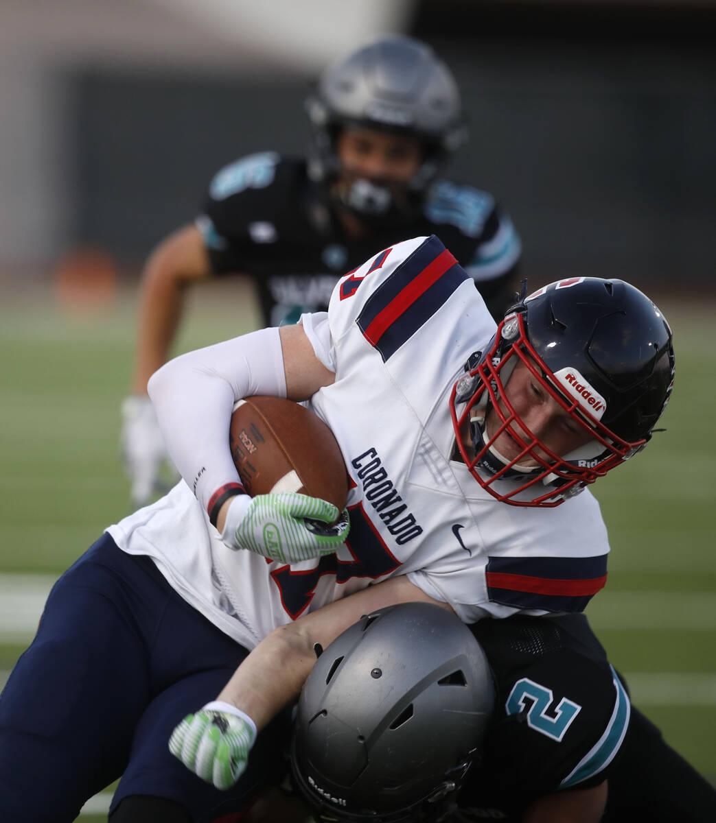 Coronado High School's Brady Kennedy (17) plays against Silverado High School's Donavyn Pellot ...