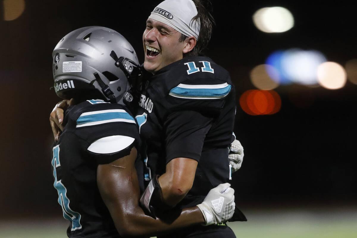 Silverado High School's Brandon Tunnell (11) celebrates their victory 32-14 against Coronado Hi ...