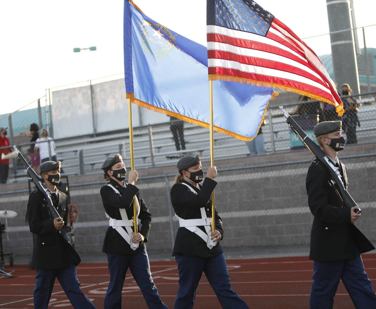 Silverado High School's junior ROTC Cadet Collins, from right, Cadet Goodman, Cadet Allen and C ...