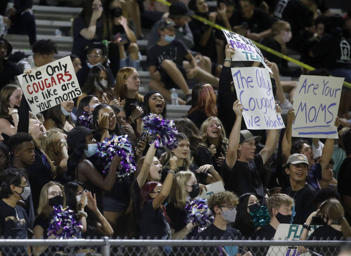 Silverado High School's fans cheer during the second quarter of a football game against Coronad ...