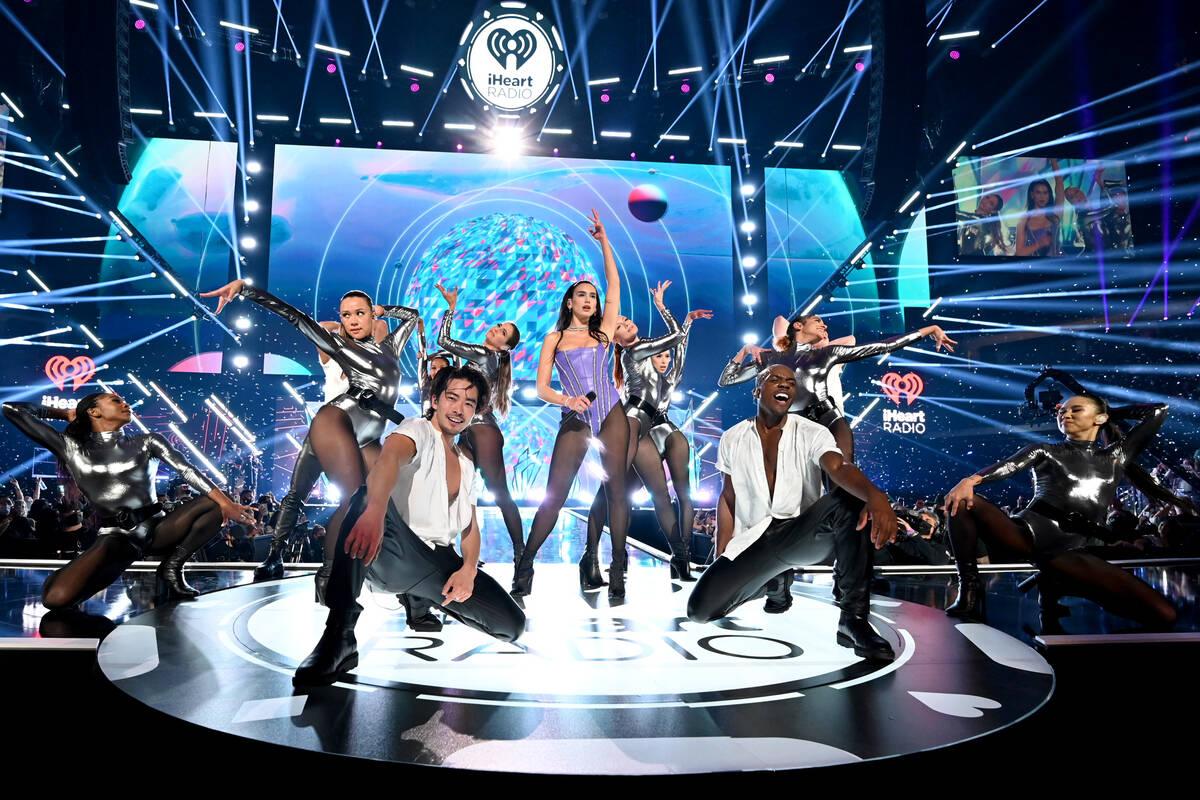 LAS VEGAS, NEVADA - SEPTEMBER 17: Dua Lipa performs onstage during the 2021 iHeartRadio Music F ...