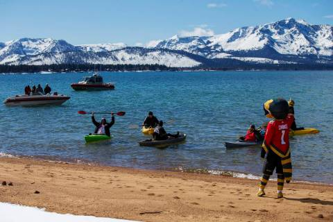 Vegas Golden Knights mascot Chance riles up the fans in Lake Tahoe during the first period agai ...