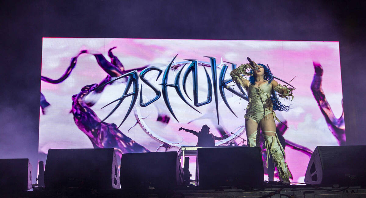 Ashnikko performs on the Bacardi Stage during day one of Life is Beautiful on Friday, Sept. 17, ...