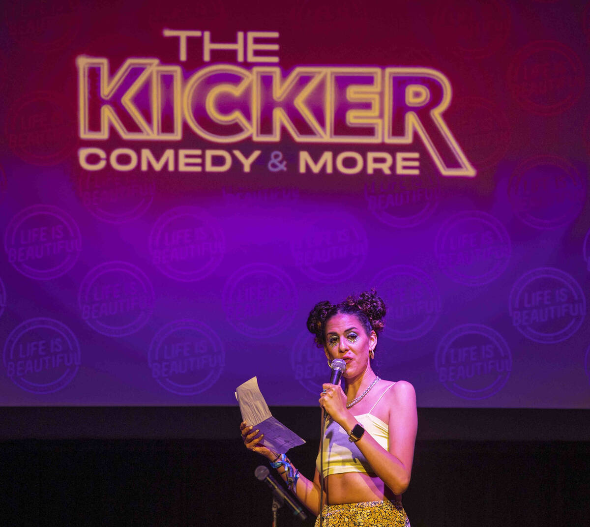 Comedian Marcella Arguello entertains the crowd at The Kicker Comedy & More club during day ...