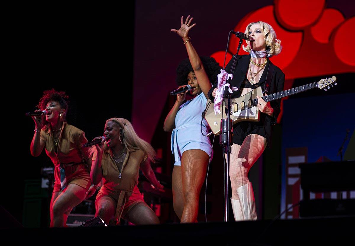 St. Vincent, right, performs astatine  the downtown signifier    during the last  time  of the Life is Beautifu ...