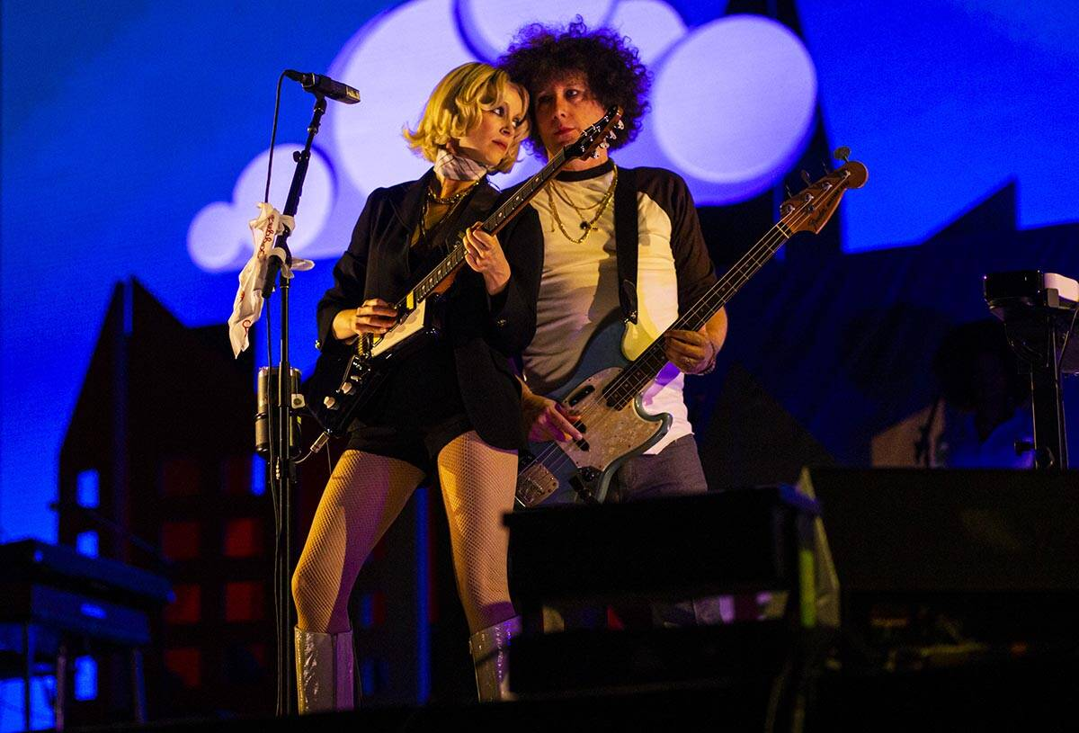 St. Vincent, left, performs with her set  astatine  the downtown signifier    during the last  time  of the Lif ...