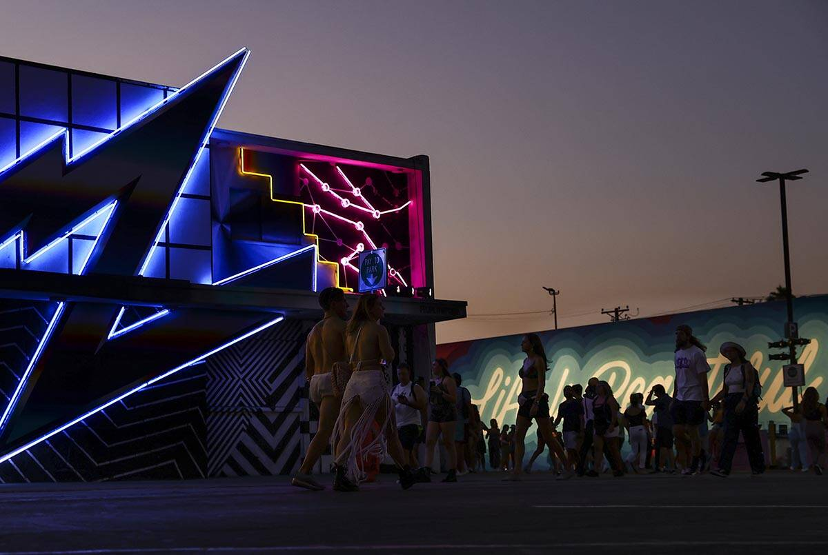 Attendees locomotion  the festival grounds during the last  time  of the Life is Beautiful festival successful  d ...